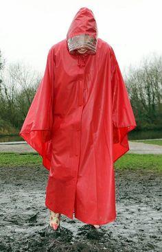 Red Raincoat, Raincoat Jacket, Mackintosh Raincoat, Rain Cape, Rain Poncho, Rain Wear, Female, Plastic, How To Wear