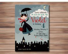 Mary Poppins Invitation, Party, Disney by CharlieRaeStudio on Etsy https://www.etsy.com/listing/270574577/mary-poppins-invitation-party-disney