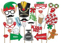 Christmas Photobooth Props Party Set - 50 Piece PRINTABLE - Great for christmas party or carols! Snowman Hat, Elf Hat, Christmas Presents For Men, Christmas Photos, Christmas Photo Booth Props, Photo Props, Christmas Bunting, Christmas Wreaths, Xmas