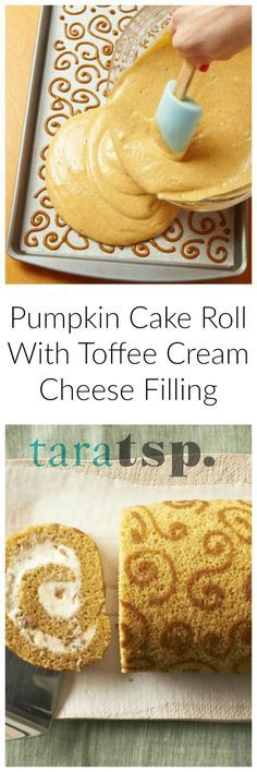 Pumpkin Cake Roll with Toffee Cream Cheese Filling is a gorgeous, delicious dessert for Thanksgiving dinner. Or just make it anytime this fall! (frosting for sugar cookies cream cheese) Pumpkin Roll Cake, Pumpkin Cake Recipes, Pumpkin Dessert, Cheese Pumpkin, Just Desserts, Delicious Desserts, Dessert Recipes, Yummy Food, Fall Cakes