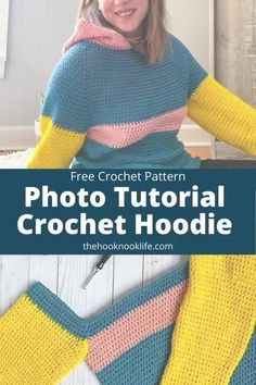 Looking for a Crochet Hoodie? Use this Free Pattern to make this cosy crochet sweatshirt! Save and Click to get started on this easy crochet project now!  #freecrochetpattern #crochetproject #crochethoodie #freecrochetproject #DIYCrochet