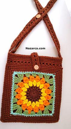 Crochet Drawstring Bag, Crochet Pouch, Crochet Purses, Crochet Chart, Crochet Motif, Crochet Bikini, Knit Crochet, Easy Crochet Stitches, Crochet Squares