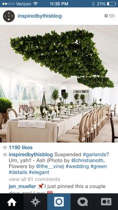 Hanging greenery structure above tables
