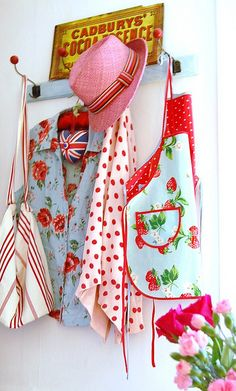 Love aprons...I have red and white aprons for my hubby, myself, and 2 grand daughters that are 10 and 11. I need a red and white one for my 3 year old grand daughter with the bib and pocket.