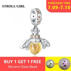 Cute 3D Silver Tone rish Harp Music Slider Dangle Clip Charm fits Euro Bracelets