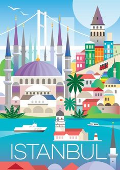 Borderless graphic digitally printed in the USA on matte cardstock and suitable for framing or displaying as is. Please allow two weeks for delivery. Cruise Tips Royal Caribbean, Istanbul Travel, City Illustration, Medical Illustration, New Print, Vintage Travel Posters, Vintage Advertisements, Graphic, Travel Photography