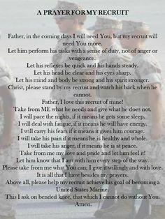 Prayer for My Recruit. Proud Marine mom. Marine Mom Quotes, Army Mom Quotes, Military Quotes, Usmc Quotes, Navy Quotes, Girlfriend Quotes, Military Girlfriend, Military Mom, Military Letters