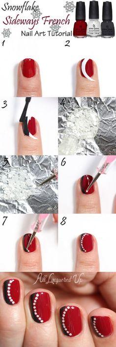 Najmodniejsze kolory - czerwień, czerń i biel na paznokciu! Świetny wzorek, który...