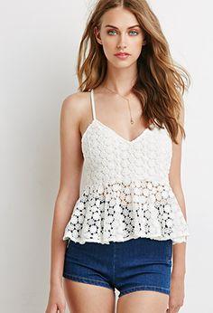 Daisy Crochet Peplum Cami | Forever 21 - 2000052247
