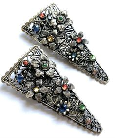 Antiques For Sale, Clip, Filigree, Vintage Jewelry, Bohemian, Brass, Detail, Silver, Vintage Jewellery