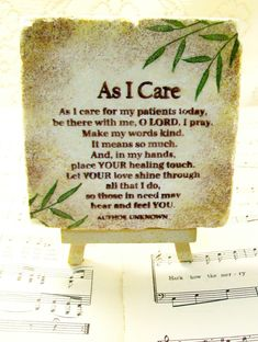"As I Care Prayer for Doctors, Nurses, Hospital Personnel and Medical Personnel, 4"" x 4"" Stone Prayer Gift, Wooden Easel and Stone Display by PrayerNotes on Etsy"