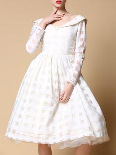 #AdoreWe #StyleWe To my fair lady White Plain Vintage Polyester Midi Dress - AdoreWe.com