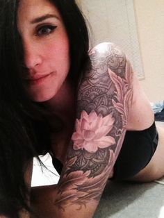 Light Pink lotus flower - I love the colors on her sleeve and the placement of each tattoo looks so natural. #TattooModels #tattoo