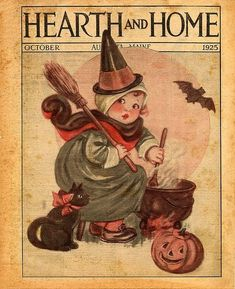 Vintage Halloween Vintage Halloween Vintage Halloween Postcards vintage style The tremendously cute October 1925 cover of Hearth and Home ma. Retro Halloween, Halloween Fotos, Vintage Halloween Photos, Halloween Pin Up, Halloween Pictures, Vintage Holiday, Holidays Halloween, Halloween Crafts, Happy Halloween