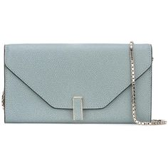 Valextra chain strap clutch ($1,170) ❤ liked on Polyvore featuring bags, handbags, clutches, blue, blue clutches, green purse, chain handle handbags, chain strap handbags and valextra