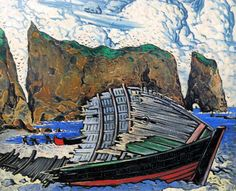 """Barque à Percé,"" Marc-Aurèle Fortin, oil on board, 38 x 47 private collection. Canadian Painters, Canadian Artists, Kunsthistorisches Museum, Montreal Museums, National Art, Painter Artist, Irish Art, Soul Art, Sculpture"