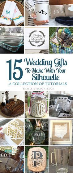 The Silhouette cutting machine is an amazing tool for creating DIY wedding gifts. Here are tons of gift ideas you can whip up this weekend! wedding gifts 15 DIY Wedding Gifts Made With The Silhouette Cutting Machine Amazing Tools, Craft Gifts, Diy Gifts, Cheap Gifts, Homemade Gifts, Plotter Silhouette Cameo, Shilouette Cameo, Diy Wedding Gifts, Trendy Wedding