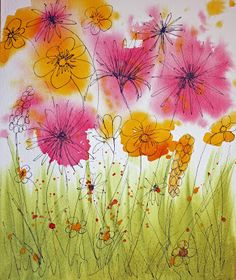 Other Activities for the Elderly: Painting Wild Flowers with Wet Watercolours!and Other Activities for the Elderly: Painting Wild Flowers with Wet Watercolours! Elderly Crafts, Crafts For Seniors, Watercolor Cards, Watercolor Flowers, Watercolor Paintings, Watercolors, Painting Flowers, Spring Art, Art Activities