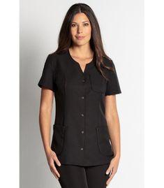 Chaqueta de peluquera negra manga corta con cuello combinado redondo con  pico y abrochada con botones 98135e31f02
