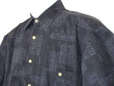 BATIK BAY Mens Hawaiian Button Down Cotton Shirt Dark Blue Geometric Size M EUC #BatikBay #Hawaiian