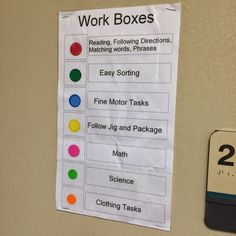 Awesome way to organize and group task boxes - easy to identify at a glance (once you memorize the colors). Can also help make sure students are doing a variety of tasks. 10 Calming Techniques And Transition Strategies For Kids Life Skills Classroom, Autism Classroom, Special Education Classroom, Classroom Setup, Future Classroom, Teacch Material, Vocational Tasks, Vocational Activities, Autism Activities
