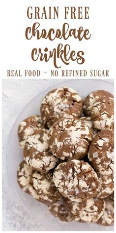 Grain Free Chocolate Crinkles are soft, fudgy, chocolate cookies with a beautiful crackly top. Delicious and sweet, this healthier real food version has no refined sugar and is sure to please. | Recipes to Nourish