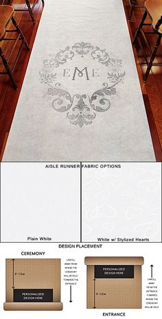 """""""Monogram Simplicity"""" Design Personalized Aisle Runner and if you need a ceremony officiant call me at (310) 882-5039 https://OfficiantGuy.com"""