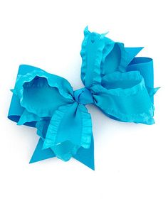 Turquoise Extra-Large Layered Ruffle Bow Clip by Fairy Bow Mother #zulily #zulilyfinds