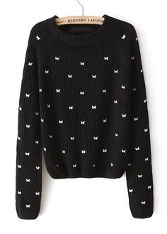 Black Long Sleeve Bow Embroidered Pullover Sweater
