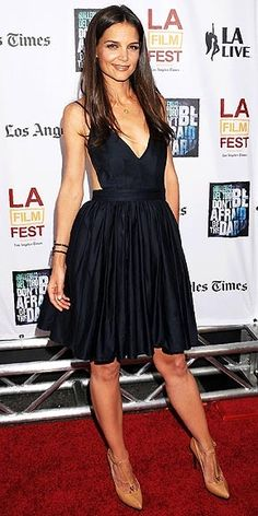 all blacked out...and looking beautiful!  LOVED this back-less dress...KATIE HOLMES photo | Katie Holmes