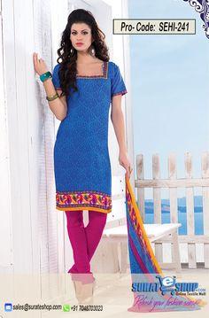 Blue & Hot Pink Salwar Kameez, Top:fabric amarican 2.00 mtrs, Bottom:fabric amarican 2.00 mtrs, Dupatta:fabric chiffon 2.25 mtrs   Visit: http://surateshop.com/product-details.php?cid=2_27_44&pid=11816&mid=0