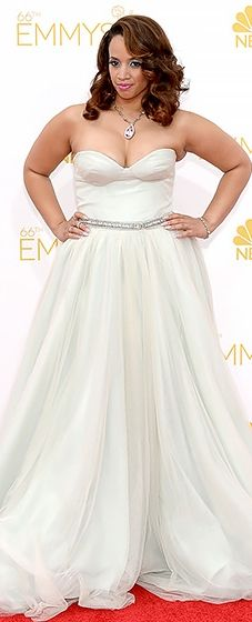 OITNB's Dascha Polanco wore a strapless princess gown with a beaded waist detail at the 2014 Emmys.