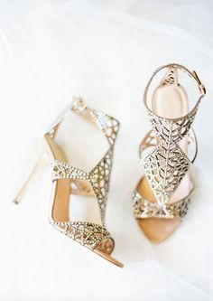 Glamorously unique gold wedding shoes; Via Sergio Rossi