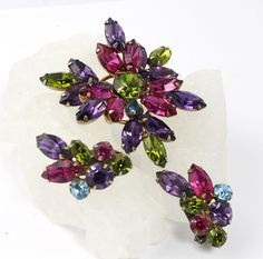 Designer Signed // Regency Brooch & Earrings Set // Olivine Purple Fuchsia Baby Blue // 1950s