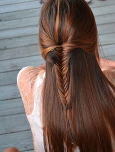 long brown hair down with a cute braid