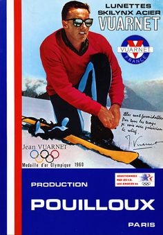 Warm to Cool Vuarnet Sunglasses Advertisement Jean-Claude Killy Ski Vintage, Vintage Ski Posters, Nordic Skiing, Alpine Skiing, Ski Equipment, Thats All Folks, Santa Lucia, Winter Sports, These Girls