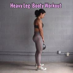 Heavy Booty/Leg Workout - Equipment: 55lb Kettlebell - - 1. Deadlifts (tuck hips & squeeze booty at top) 10 Reps - - 2. Sumo Deadlift (feet wide, toes out, tuck & squeeze) 10 Reps - - 3. Hang Squats (wide stance, toes slightly out, squeeze booty) 10 Reps - - 4. Pulsing Tension Squats (feet hip width, toes forward, pulse 2 times then extend almost to top, not all the way) 10 Reps - - 5. Reverse Lunge Knee Up (squeeze that cheek, press thru that heel) 8 Reps ea Leg - - 6. Single Leg Deadli...
