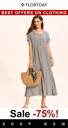 Solid buttons dress, elegant dress, daily, trendy, special offer.