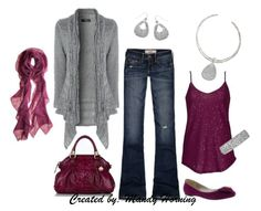 feat. Premier Designs jewelry #pdstyle jeans, burgundy cami and bag, pink scarf, grey cardigan