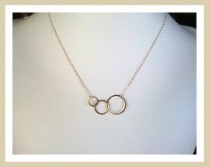 Eternity love Triple Circle Gold Necklace