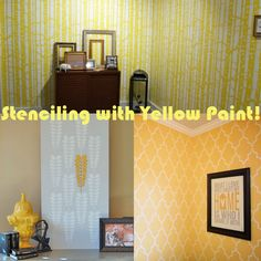 YELLOW! #stencil allover or accent pieces  with yellow paint to brighten your dullest rooms!