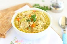 Delicious, healthy, and gluten-free chicken noodle soup made in the Instant Pot! Chicken thighs, vegetables, thyme, and turmeric all included.