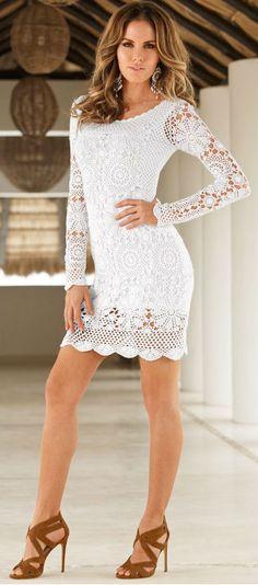 White long sleeves crochet dress