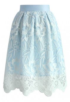 Lotus Fairy Pleated Skirt in Sky Blue - Retro, Indie and Unique Fashion
