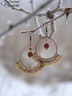 Sharon.handmade / Hnedo-zlatá čipka bead embroidery handmade earrings, boho jewelry, seed beads, czech beads, lace style, copper wire