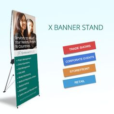 Interchangeable banner.  Quality Banner Stand at Low Price.  100% Satisfaction Guaranteed