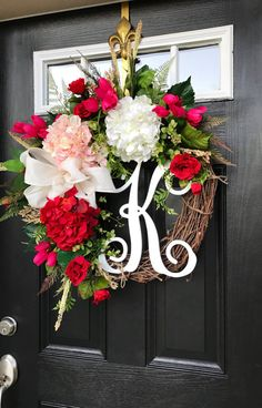 Your place to buy and sell all things handmade Spring Front Door Wreaths, Spring Wreaths, Summer Wreath, Straw Wreath, Grapevine Wreath, Burlap Wreath, Beautiful Front Doors, Santa Boots, White Hydrangeas