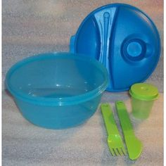Tupperware Salad-to-Go Lunch Set...tiny container w/lid for dressing and even a fork and knife that can be washed and re-used!