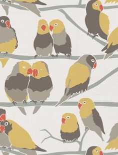 Lovebirds Designer Fabric by Aimée Wilder Fabric: Fine Belgian Linen/Cotton Blend Length*: 1 yard (91.4 cm) Width*: 54 inches (137 cm) Strike off: 25 × 25 inches (63.5 × 63.5 cm) Sample: 9 × 12 inches