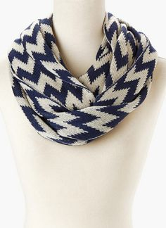Have this...love it! Navy & Cream Knit Zigzag Infinity Scarf